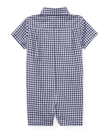 Gingham Collared Shortall, Blue, Size 3-18 Months