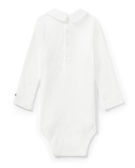 Long-Sleeve Cotton Bodysuit w/ Embroidered Collar, Size 3-12 Months