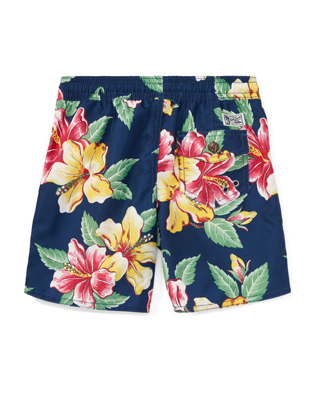 Captiva Floral-Print Swim Trunks, Blue, Size 2-4