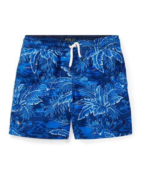 Printed Captiva Swim Trunks, Blue, Size 5-7