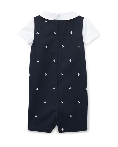 Bedford Anchor Overalls w/ Peter Pan Shirt, Size 6-24 Months