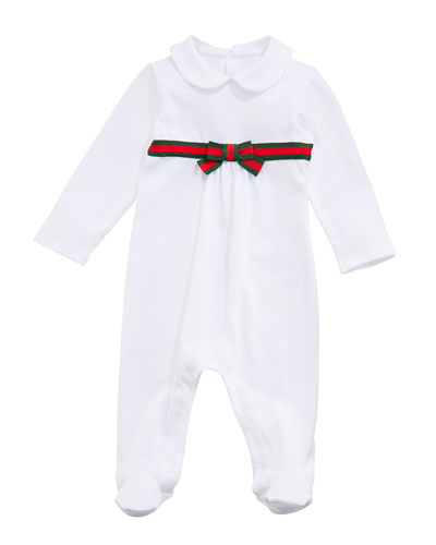 Long-Sleeve Web-Trim Footie Pajamas, Size 0-9 Months