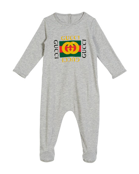 Long-Sleeve Vintage Logo Footie Pajamas, Size 0-9 Months