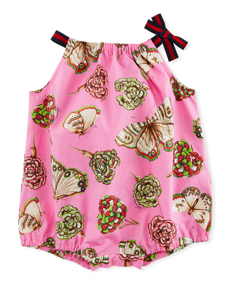 Gucci Butterfly & Floral Printed Romper, Size 3-24