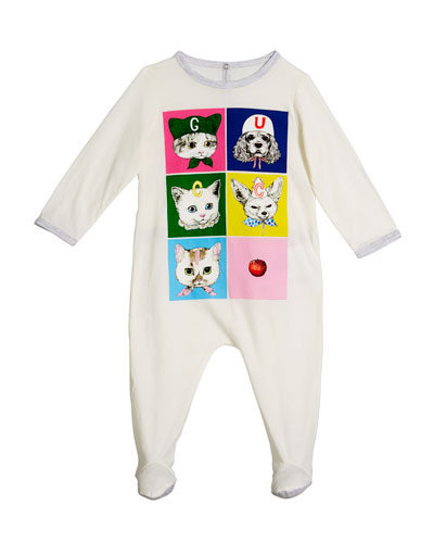 Pets Print Long-Sleeve Footie Pajamas, Size 0-9 Months