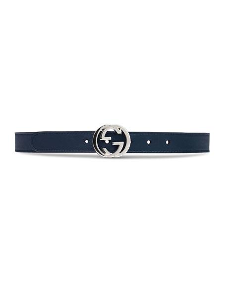 Kids' Leather Belt w/ Interlocking G Buckle