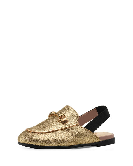 Princetown Glittered Horsebit Mule Slide, Toddler/Kids in Gold