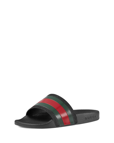 57cd09779b8d4 Gucci Pursuit Web Rubber Slide Sandal