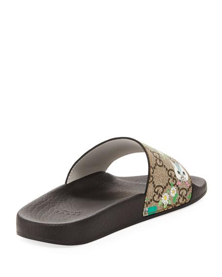 1f9e4d74dfe2c Gucci Pursuit Cat-Print GG Supreme Slide Sandals
