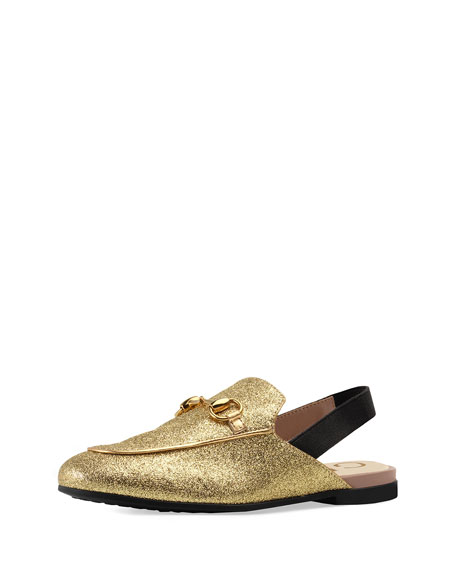 Gucci Princetown Glittered Horsebit Mule Slide, Kids