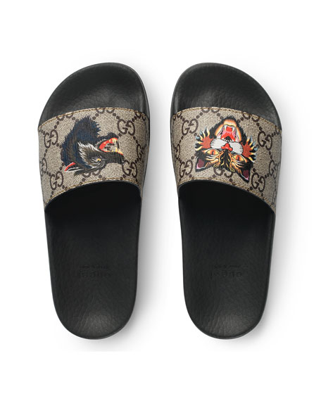 25a1d785dd9 Gucci Pursuit Angry Cat   Wolf GG Supreme Canvas Slide Sandals
