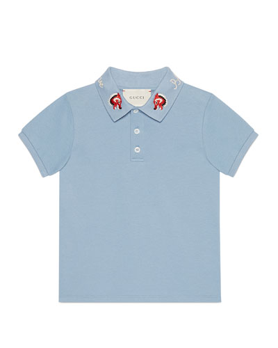 Cotton Stretch Pique Polo w/ Embroidered Collar, Size 4-12