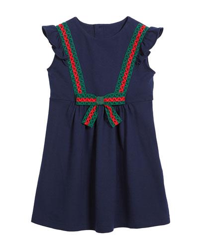 Cotton-Stretch Piquet Dress w/ Lace Web Trim, Size 4-12