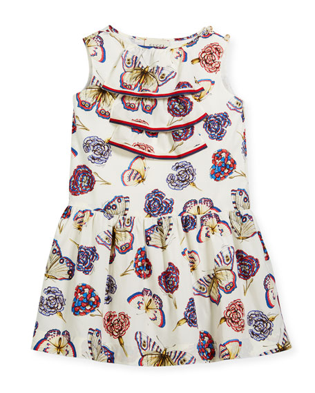 Gucci Butterfly-Print Sleeveless Dress w/ Web Trim, Size
