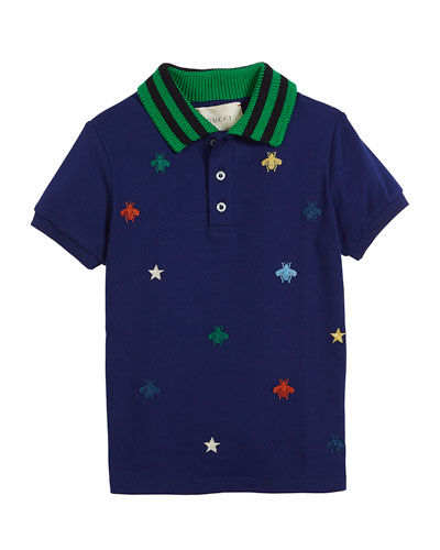Bee & Star Embroidered Pique Polo w/ Knit Collar, Size 4-12