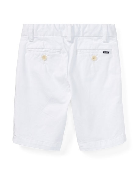 Stretch Chino Preppy Shorts, White, Size 5-7