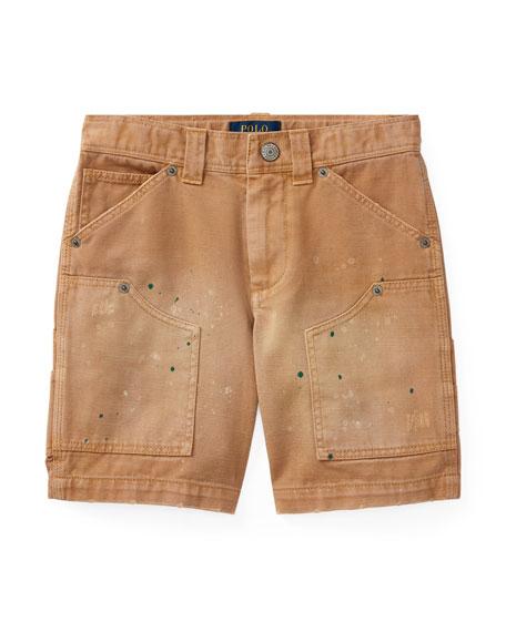 Montauk Chino Carpenter Paint-Splatter Shorts, Beige, Size 2-4