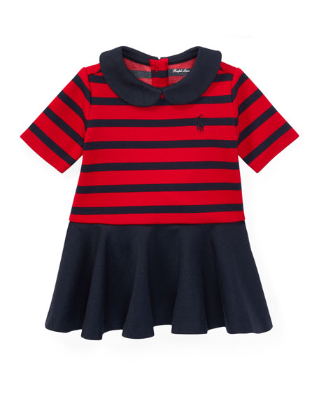 Roma Ponte Stripe Dress w/ Bloomers, Size 9-24 Months