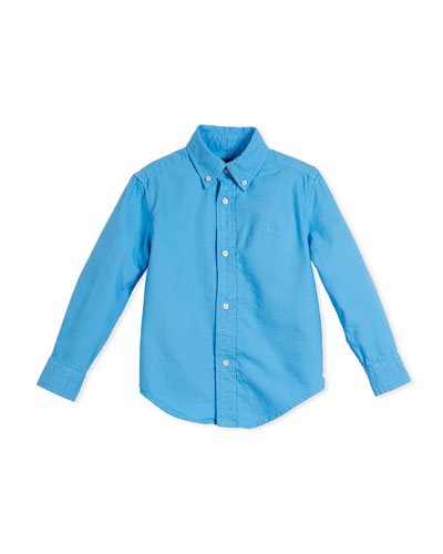 Garment-Dye Oxford Button-Down Shirt, Blue, Size 2-4