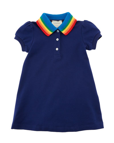 Polo Rainbow-Collar A-Line Dress w/ Butterfly Embroidery, Size 12-36 Months