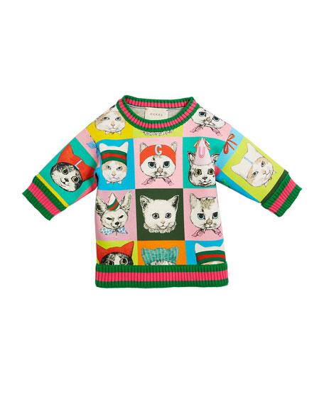 Gucci Pets-Print Sweatshirt w/ Knit Web Trim, Size
