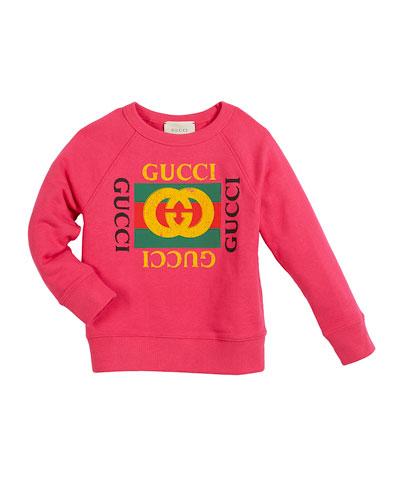 Long-Sleeve Logo Sweatshirt, Size 4-10