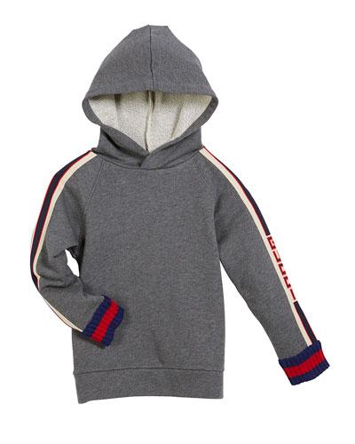 Cotton Felted Jersey Hoodie w/ Logo Jacquard Trim, Size 4-12