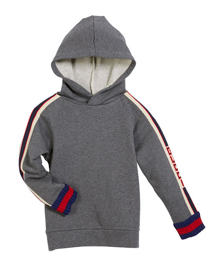 Gucci Cotton Felted Jersey Hoodie w/ Logo Jacquard