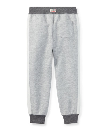 Double-Knit Colorblock Tech Pants, Gray, Size 2-4