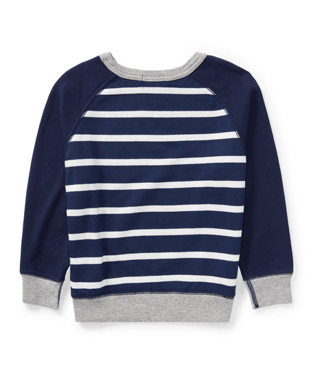 Spa Terry Stripe Knit Sweater, Blue, Size 5-7