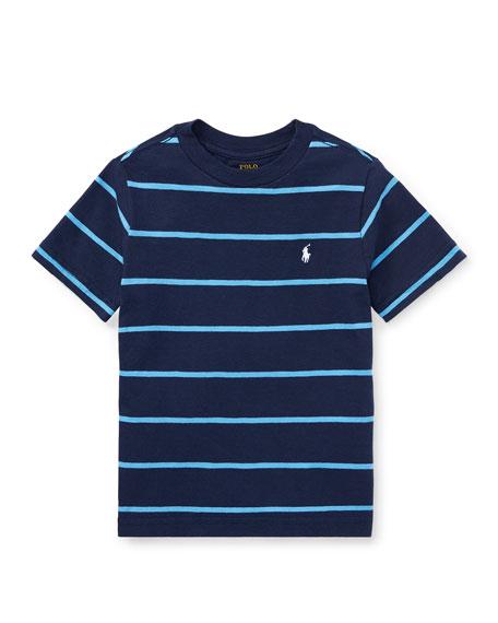Slub Jersey Stripe T-Shirt, Blue, Size 5-7
