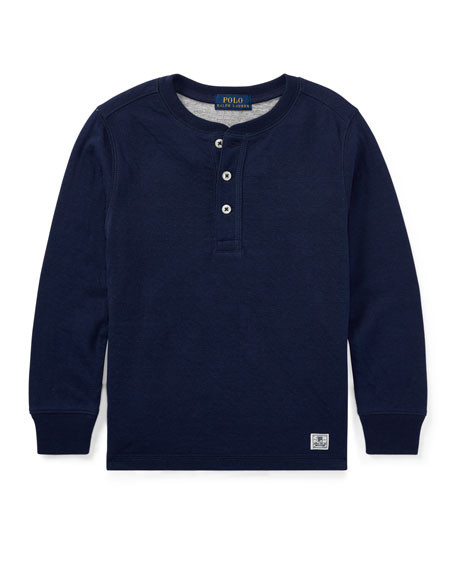 Duo-Fold Henley Knit Shirt, Blue, Size 2-4