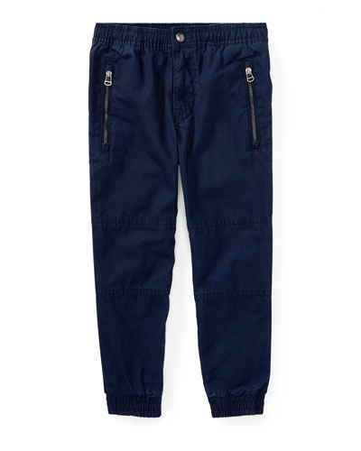 Cotton Poplin Jogger Pants, Blue, Size 5-7