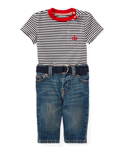 Striped Jersey Ringer Tee w/ Jeans & Belt, Size 6-24 Months