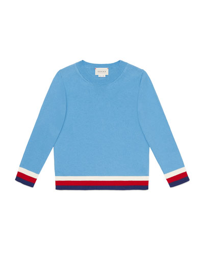 Giza Crewneck Sweater w/ Stripe Trim, Size 4-12