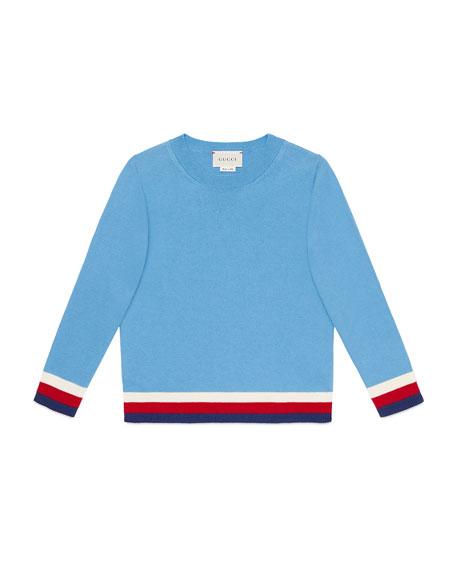 Giza Crewneck Sweater w/ Stripe Trim, Size 4-12