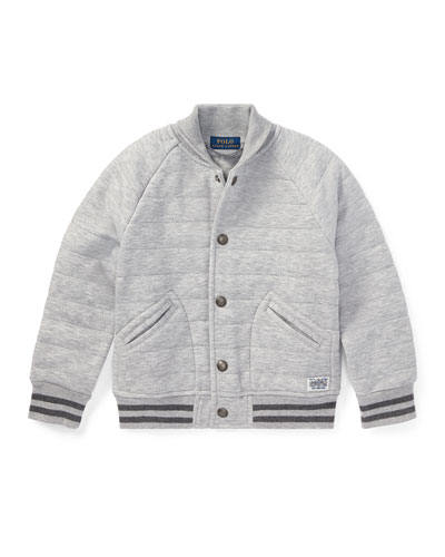 Double Knit Tech Baseball Jacket, Gray, Size 2-4