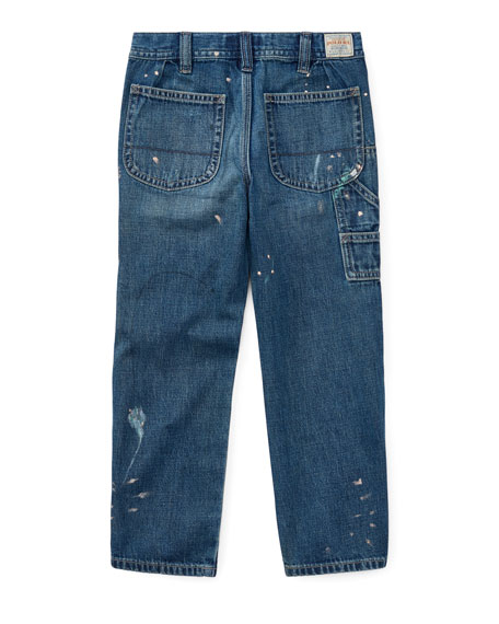 Hampton-Fit Paint-Splatter Denim Jeans, Size 5-7