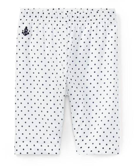 Batista Polka-Dot Pants, White/Blue, Size 9-24 Months