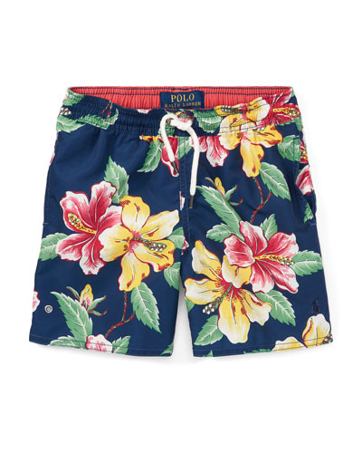 Captiva Floral-Print Swim Trunks, Size 5-7