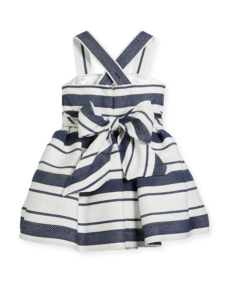 Sophisticated Stripe Cross-Back Dress, Size 12-18 Months