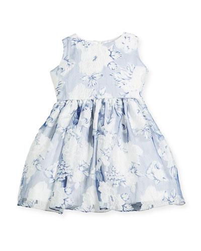 Camellias Organza Sleeveless Dress, Size 2-6