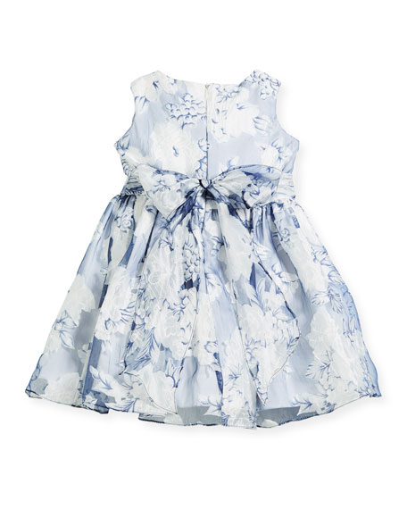 Camellias Organza Sleeveless Dress, Size 7-14