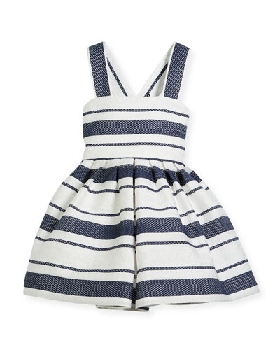 Sophisticated Stripe Cross-Back Dress, Size 2-6