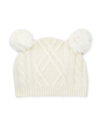 Cable-Knit Beanie Hat w/ Double-Pompoms