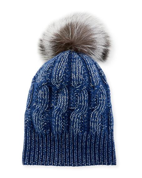 Girls' Seed-Stitch Beanie Hat w/ Fur Pompom, Blue