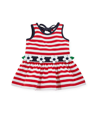 Stripe Knit Sleeveless Dress w/ Flower Detail, Size 3-24 Months