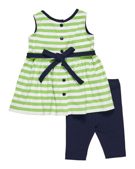 Stripe Knit Flower Top w/ Leggings, Size 2-6X