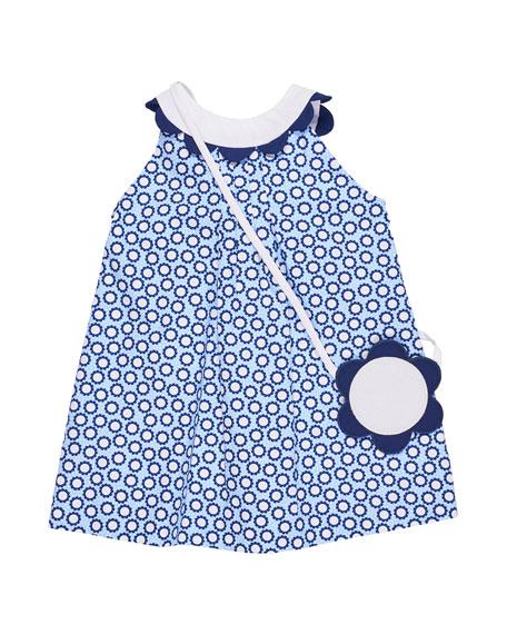 Daisy-Print Halter Dress w/ Flower Purse, Size 2-6X