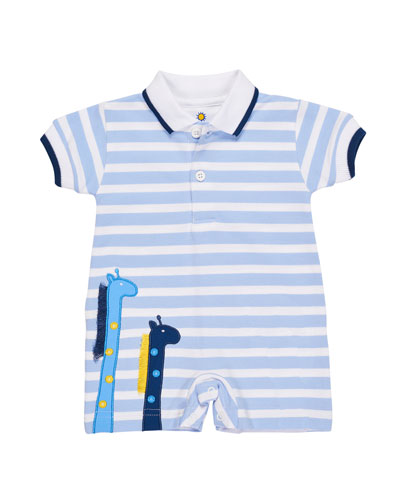 Stripe Knit Pique Polo Shortall w/ Giraffe Embroidery, Size 3-24 Months